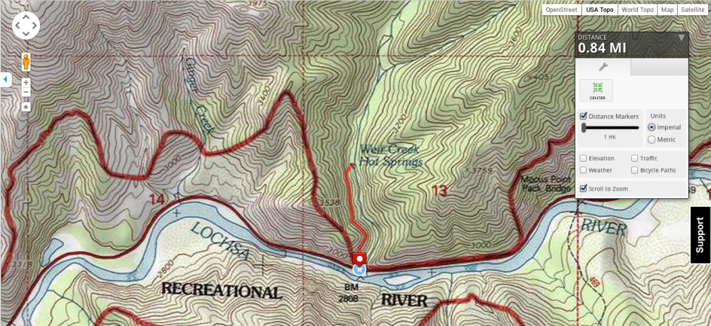 Trail Map of the Weir Hot Springs