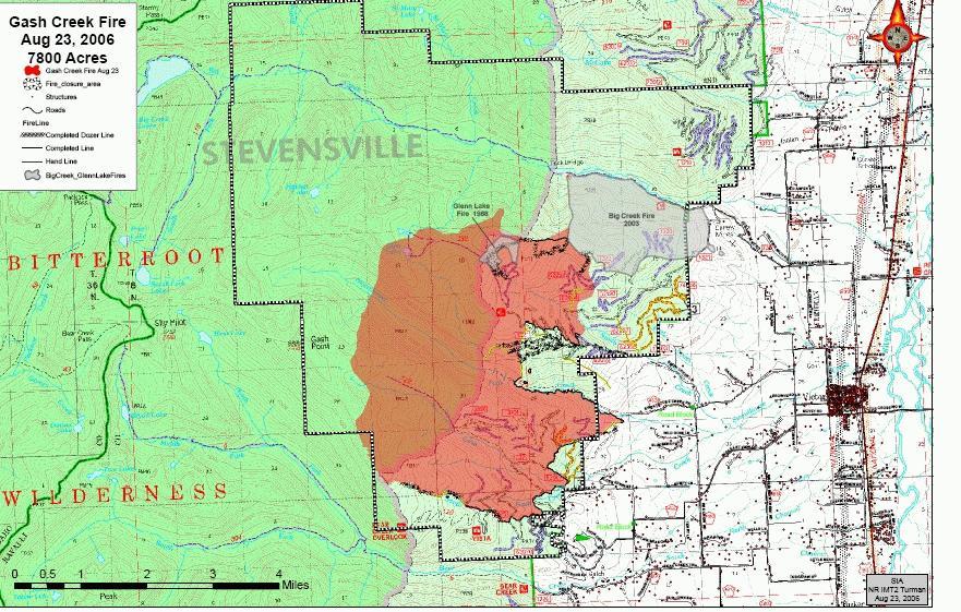 Gash Creek Fire map