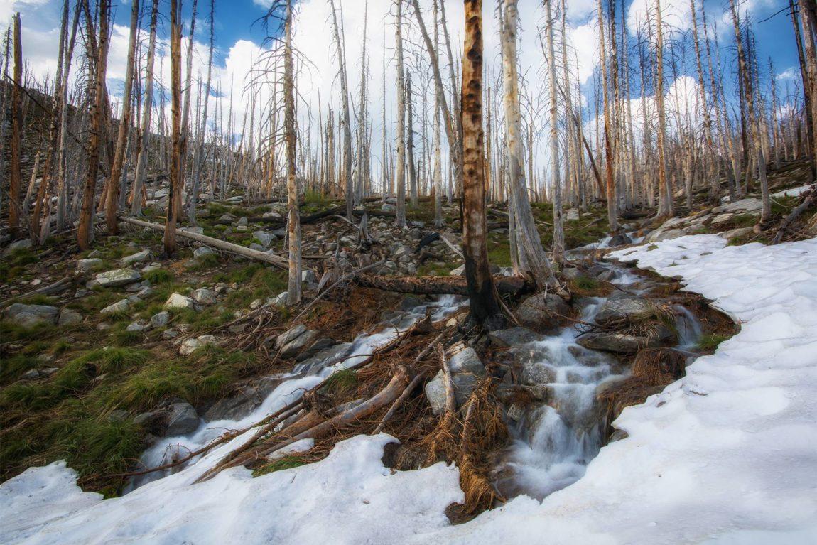 Snow-melt cascade between no name lake and Glen Lake