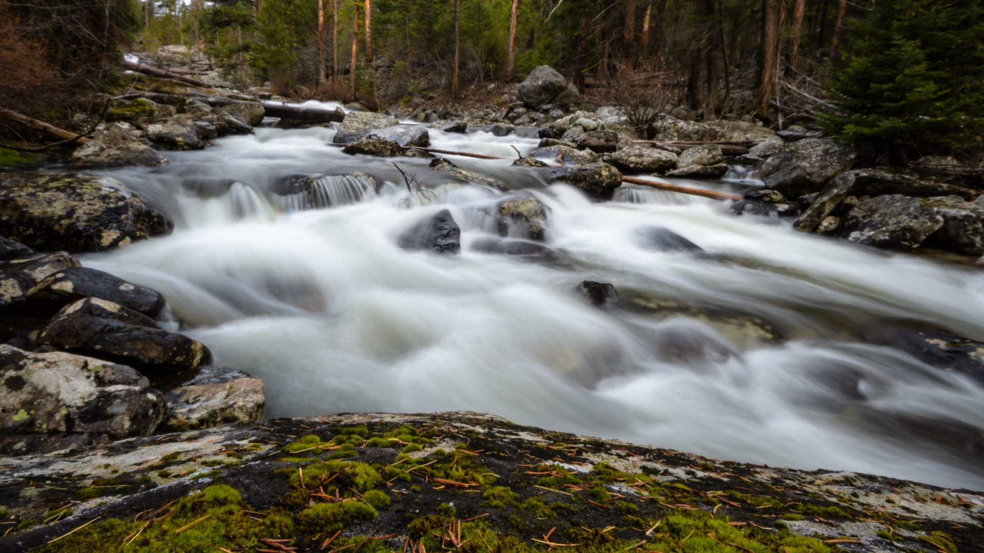 Bear Creek continues to cascade below the falls