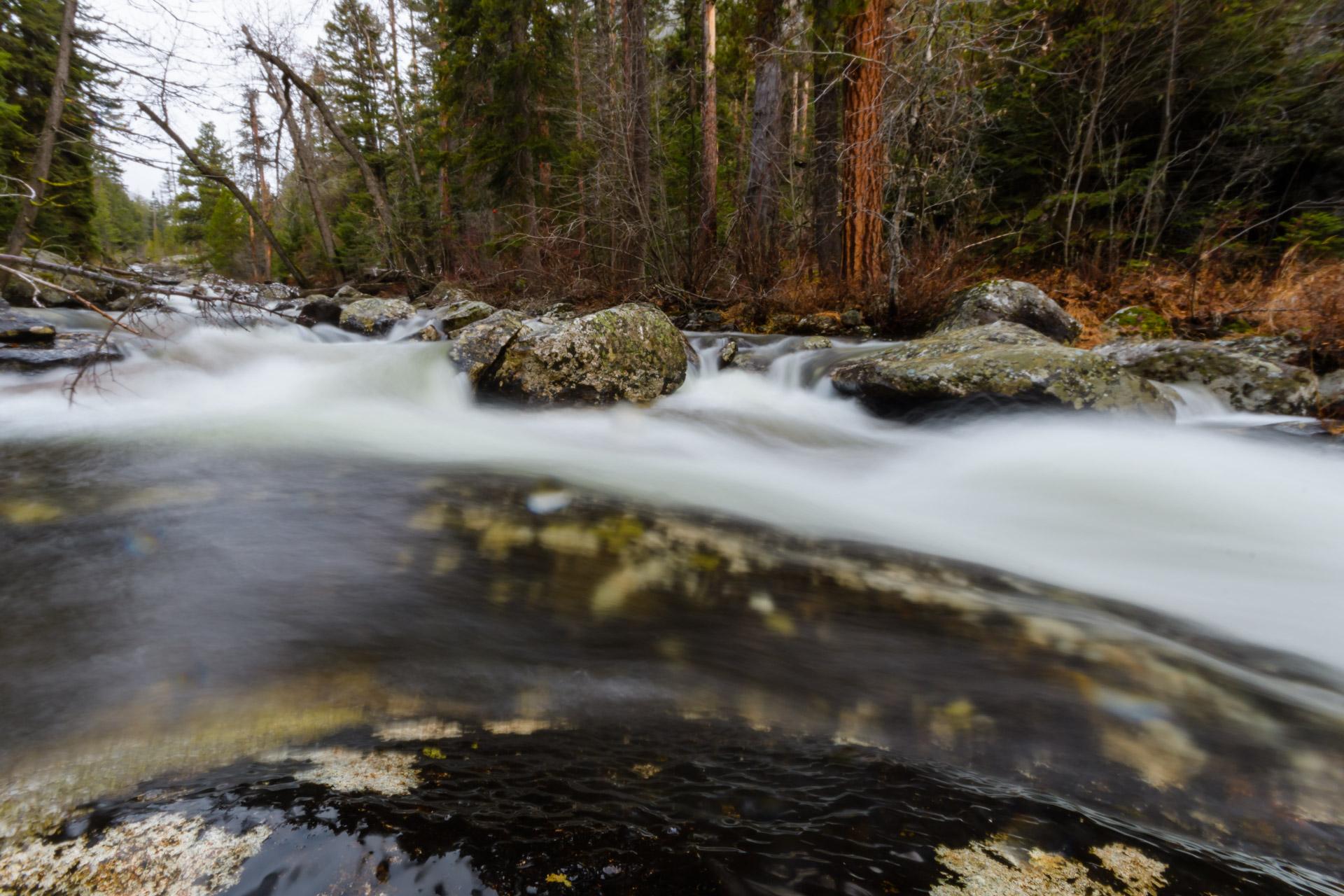 Bear Creek skims over granite boulders