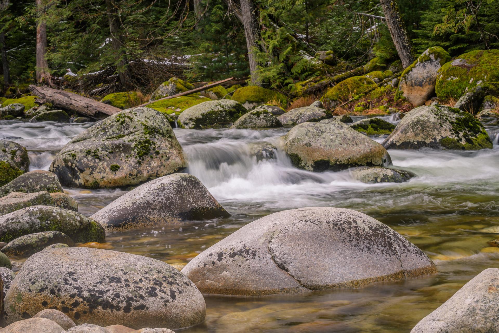 Mid-stream granite boulders