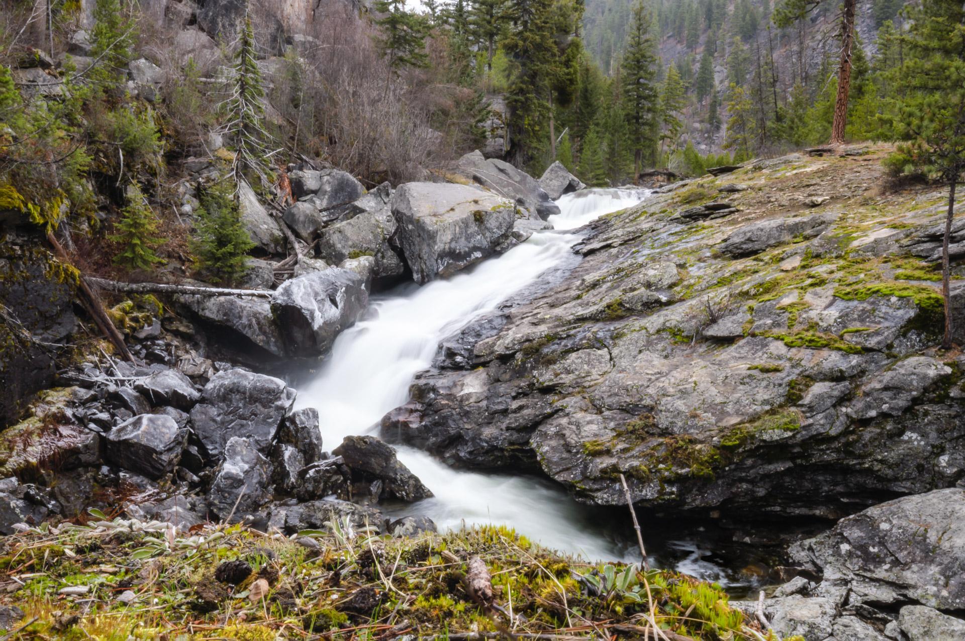 Waterfall on Rock Creek at the head of Lake Como