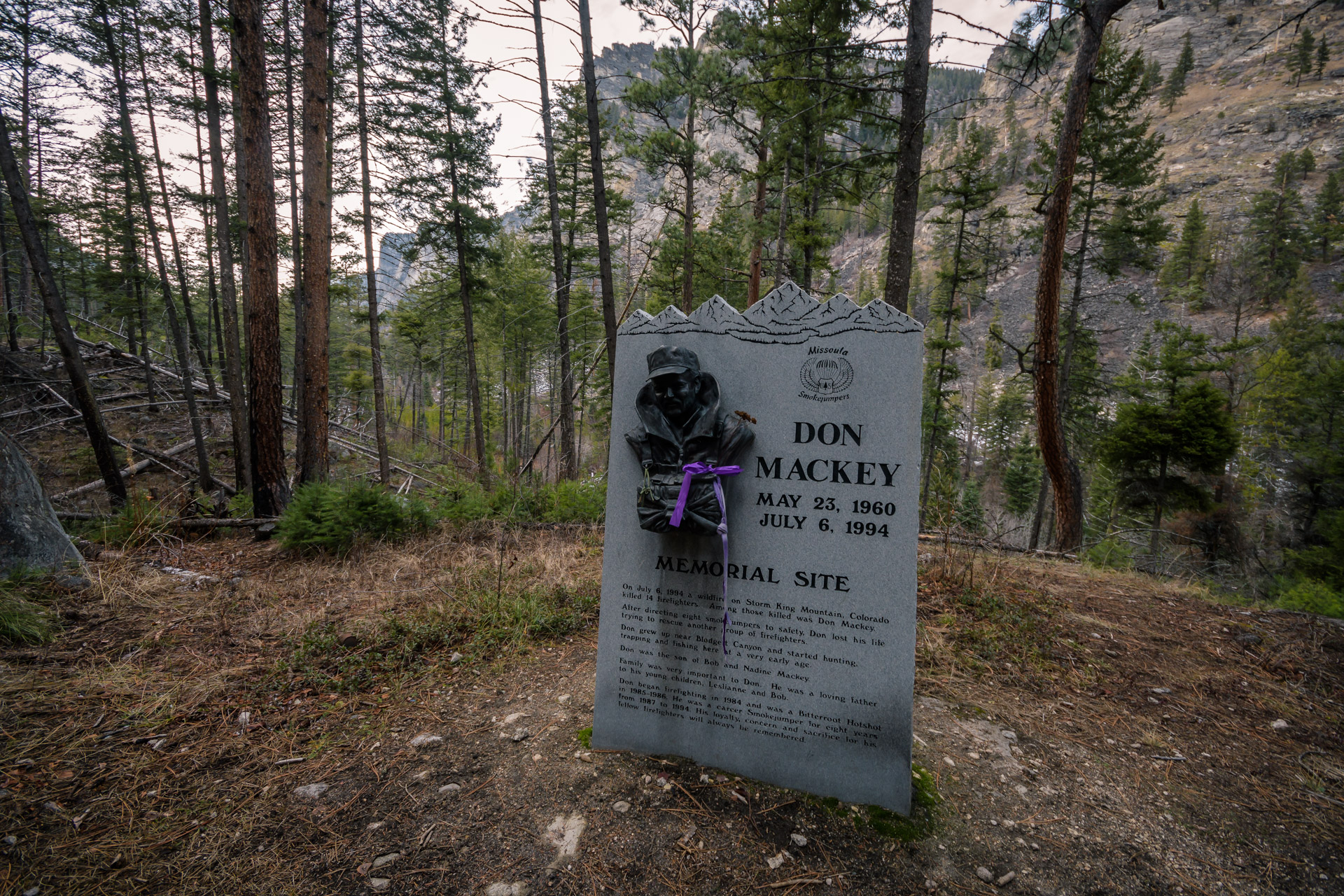 The Don Mackey Memorial at the trailhead