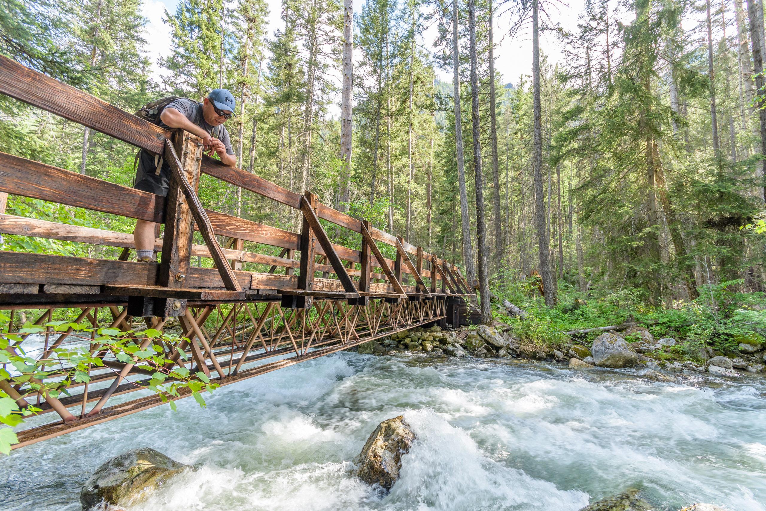 Crossing Big Creek on the pack bridge