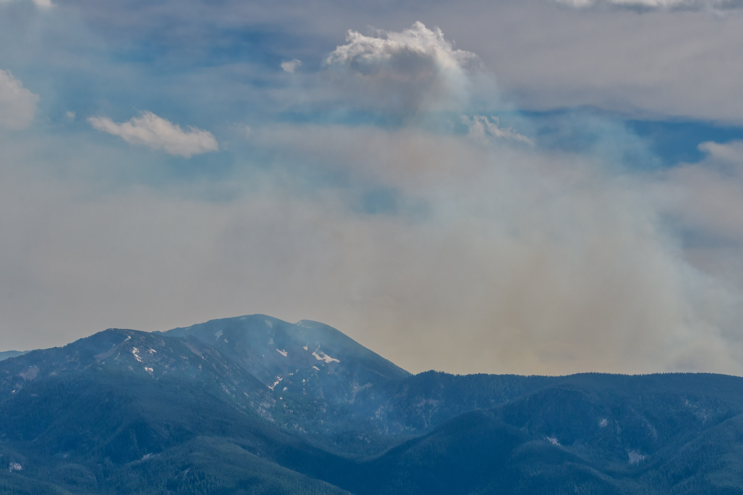 Looking across to the Lolo Peak fire