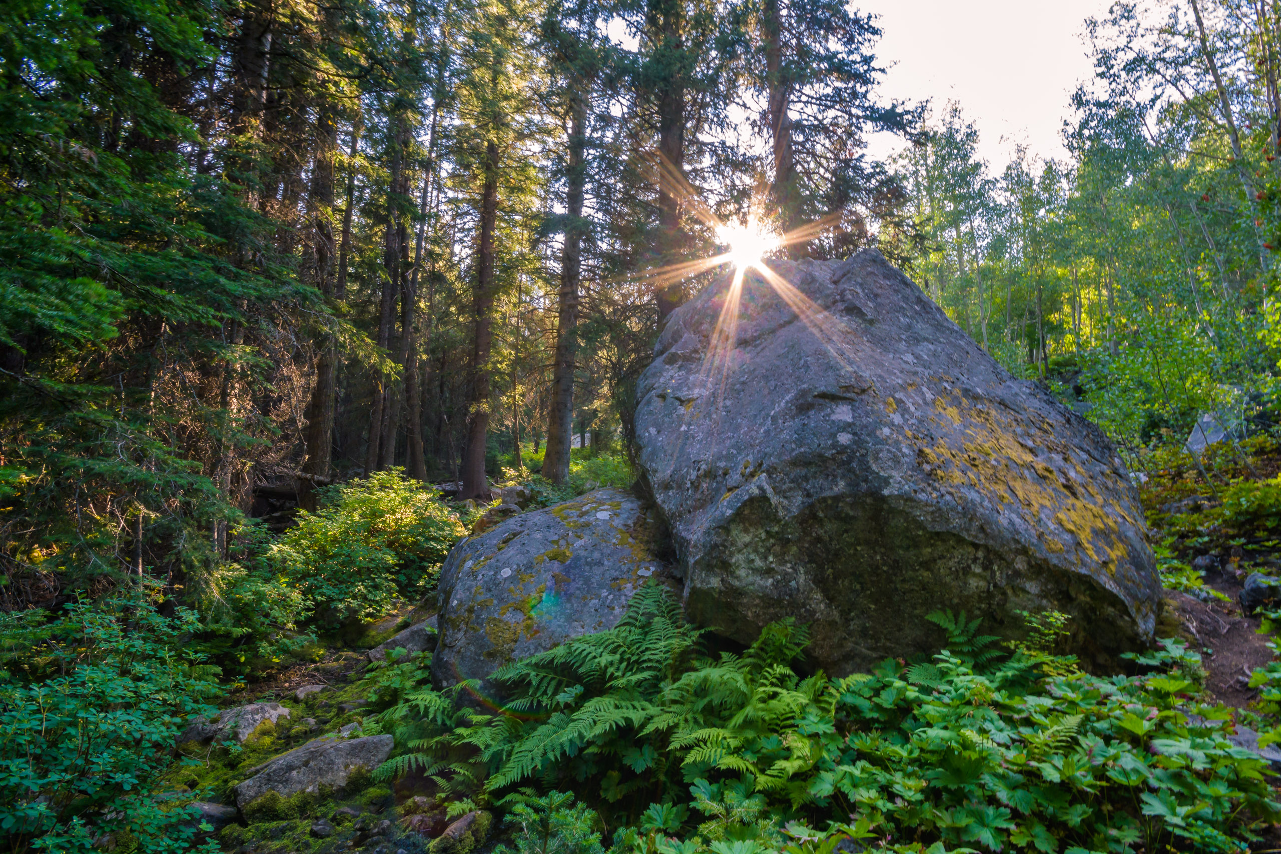 Sunset over a gigantic boulder