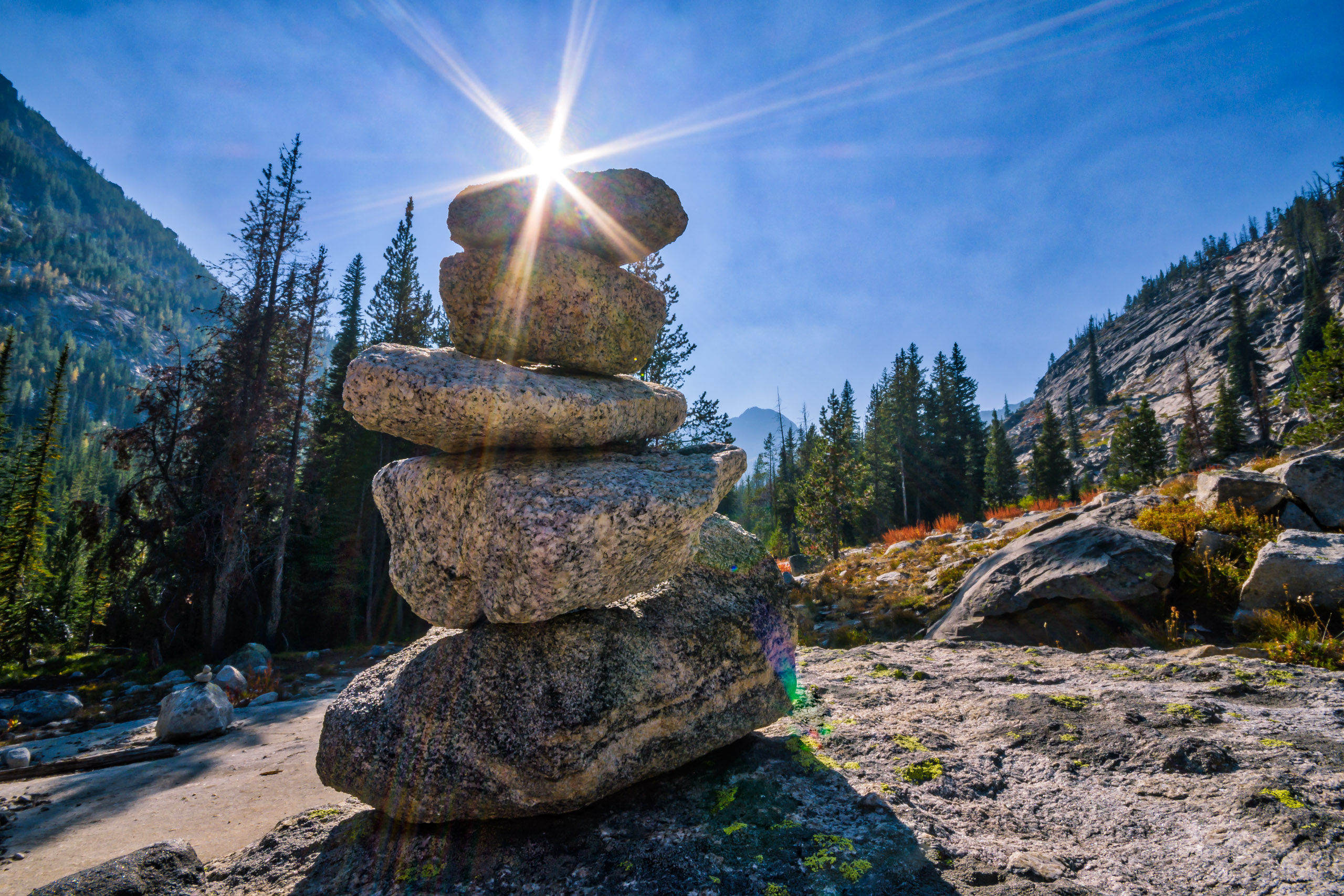 Cairn on the trail to Canyon Lake, Bitterroot Mountains, Montana - this time it is an actual trail marker across slabs of granite