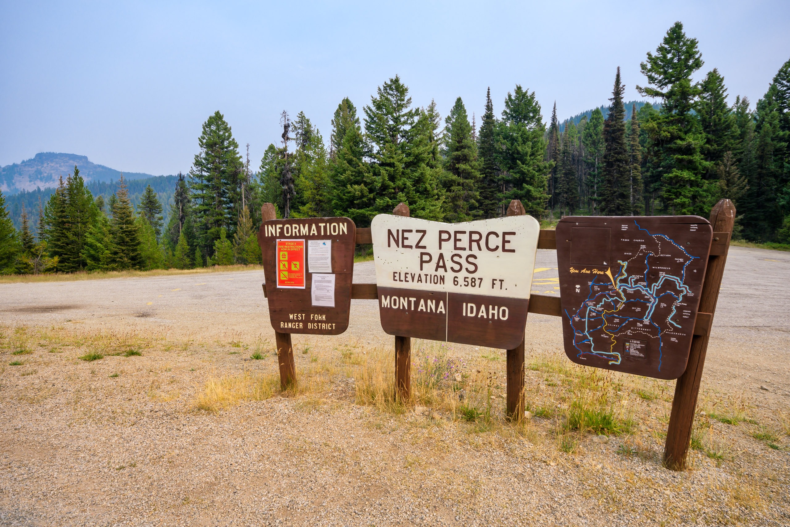 On the border of Montana and Idaho, Nez Perce Pass marks the descent into the Magruder Corridor
