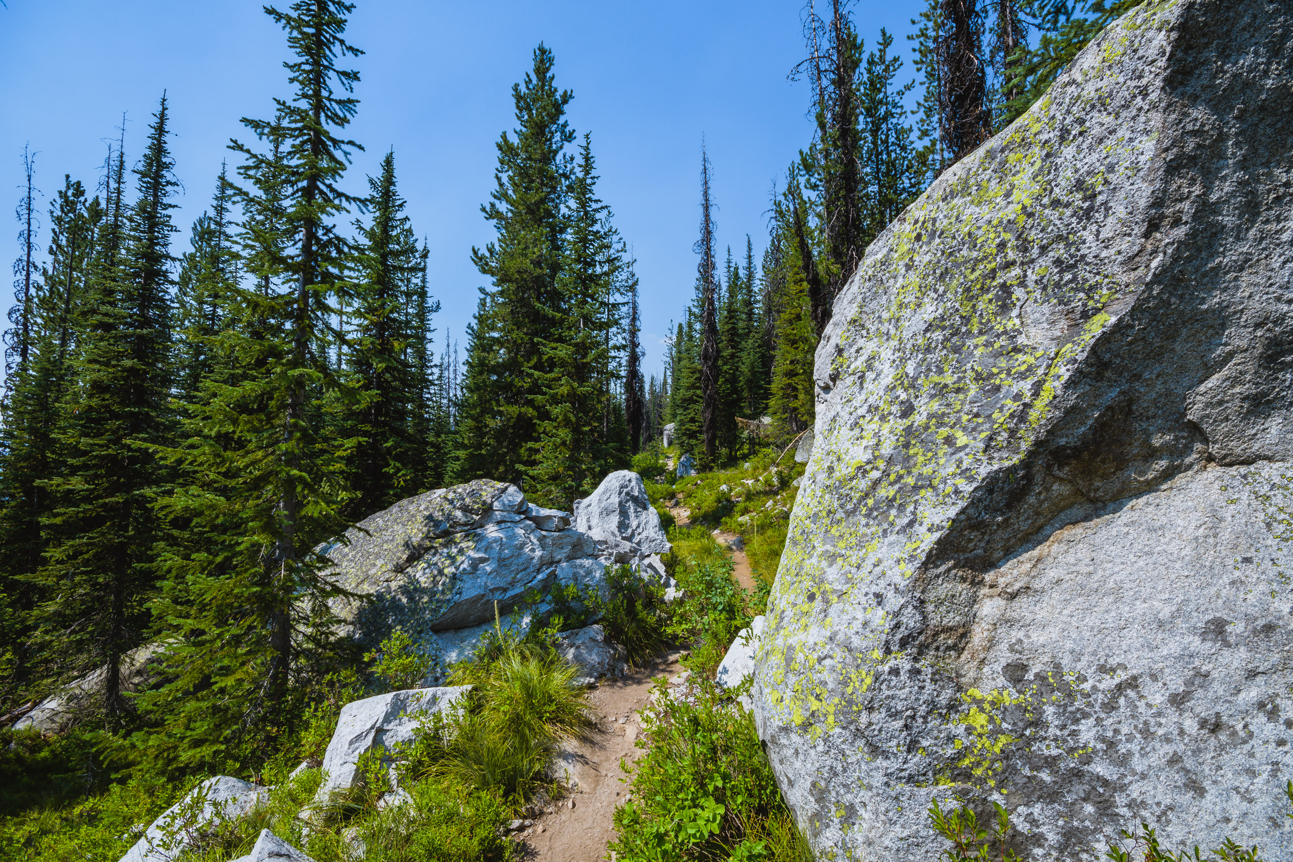 The trail weaves its way through and around large granite boulders