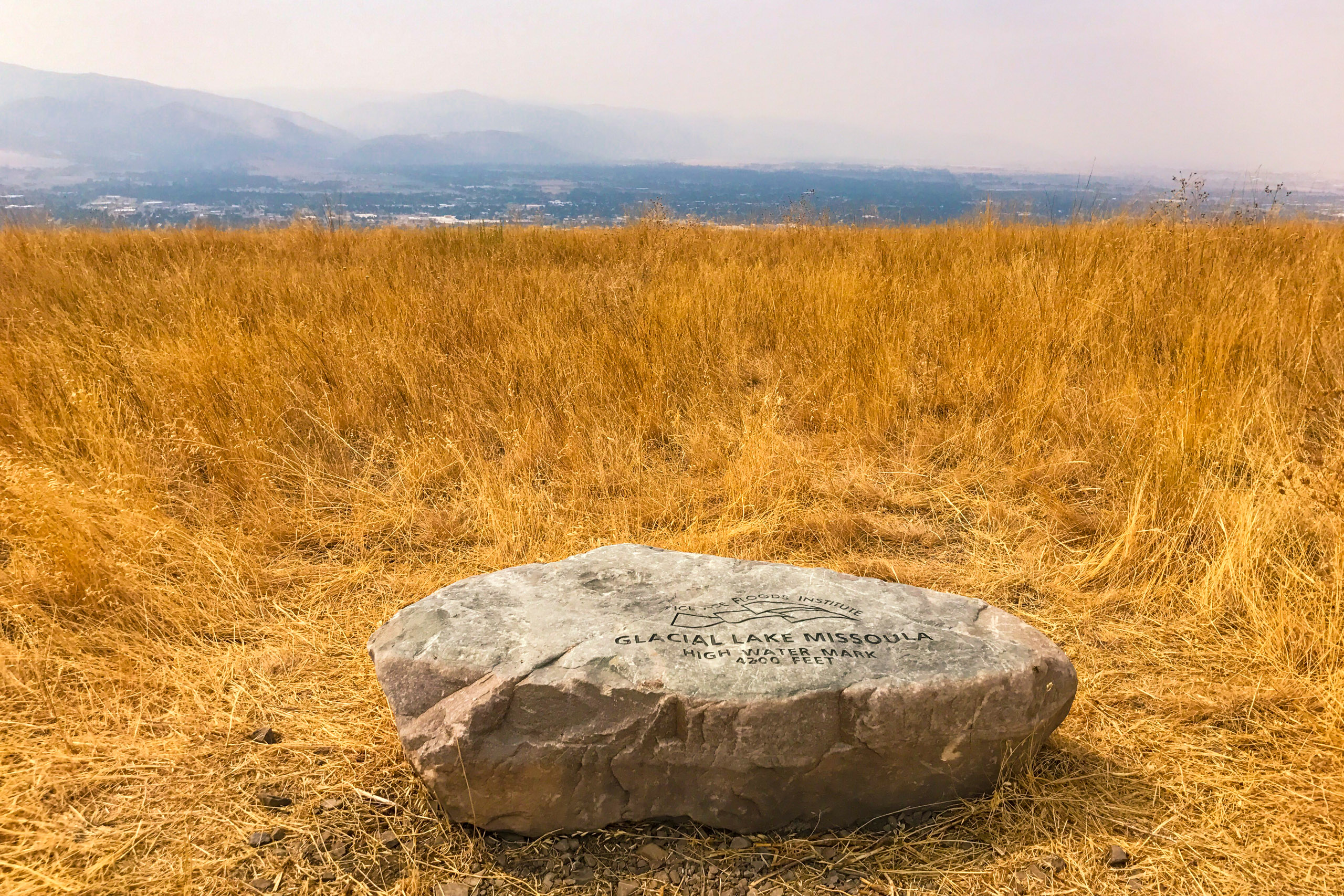 Marker at the highest shoreland of Glacial Lake Missoula